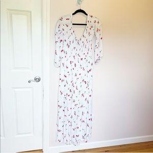 Torrid off the shoulder white floral maxi dress